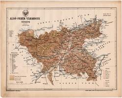 Alsó - Fehér vármegye térkép 1899, Magyarország atlasz (a), Gönczy Pál, 24 x 30 cm