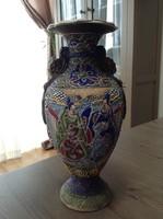 Antik Japán Satsuma Moriage kézzel festett kerámia váza