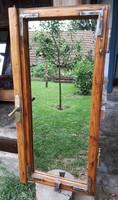 45*92-es felújított, egyedi régi tükrös ablak, tükör, pipere, antik, vintage, dekor design