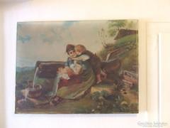 Bájos antik vászon festmény