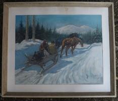 Téli táj   csodás festmény
