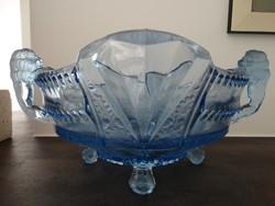 Art deco Brokwitz tál világos kék színben oroszlános fogantyúval