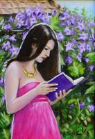 Olvasó lány (Bíbor hercegnő) Olaj vászon, 35x50 cm