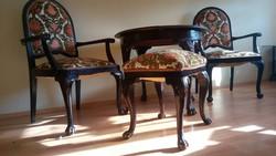 Eladó oroszlánlábas barokk asztal székekkel puffal oroszlánkörmös