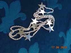 Ezüstözött nyaklánc 8 db ezüstözött csillag függővel