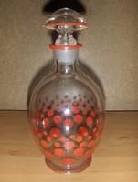 Antik pöttyös üveg likőrös palack kiöntő (7/K)
