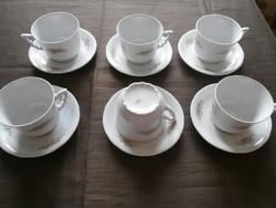 Zsolnay manófüles virágos teáscsészék kistányérral 6-6 db szép állapotban eladó