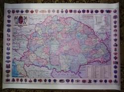 A Magyar Szent Korona Országai 1914 - Térkép cimerekkel- 100 x 70 cm.Vászonra nyomott másolat