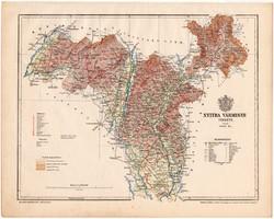 Nyitra vármegye térkép 1899, Magyarország atlasz (a), Gönczy Pál, 24 x 30 cm