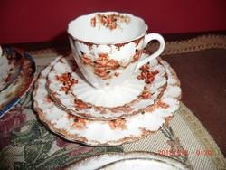 Angol antik kávés szett kézzel festett.