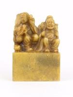 0R126 Antik három keleti bölcs zsírkő szobor