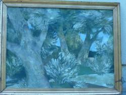 Eladó Munkácsy-díjas Scholz Erik: Árnyékot adó fák, olaj, farost, nagy méretű, keretezett festménye