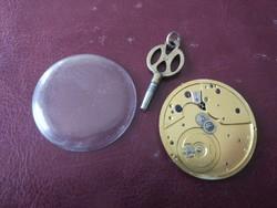 Zsebóra szerkezet kulccsal, üveggel