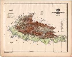 Pozsega vármegye térkép 1899, Magyarország atlasz (a), Gönczy Pál, 24 x 30 cm