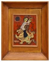 """Sz. Kárpáty Magda festőművész (1926-2017) """"Kínai mesevilág"""" c. tűzzománc alkotása"""