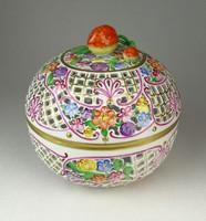0Q437 Hatalmas áttört Herendi porcelán bonbonier