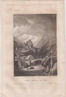 Acélmetszet: Burg Landeck in Tyrol  (1800-as évek)