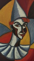 Kubista stílusú Bohóc olaj-farost festmény 60-as évekből eredeti
