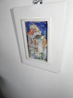 Házak - jelzett tűzzománc falikép - zománckép