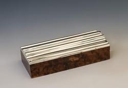 Ezüst fedelű art deco fa doboz
