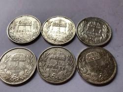 1893,95,1912,14,15,16 magyar ezüst 1 koronák