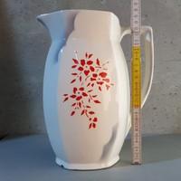 Piros virágmintás Kispest gránit vizeskancsó (371)
