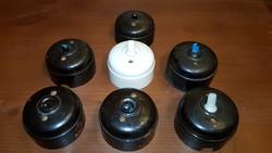 Antik elektromos szerelvények / 7 db antik-retró kapcsoló egy csomagban