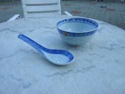 Vintage kínai rizses mélytál kanállal - rizstál - átlátszó rizsszem mintával