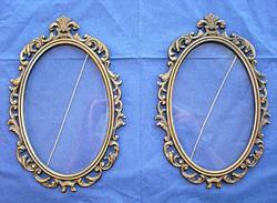 Barokkos, üvegezett fali bronz képkeret pár