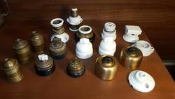 Antik elektromos szerelvény csomag / kapcsolók, foglalatok,dugaljak-dugvillák