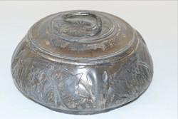 Szecessziós ón cukortartó jelzett vésett 1938 Hermesbank ... ezüstözött