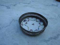 Antik majolika fémkeretes tál - jelzett LOUIS XVI.