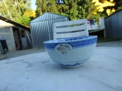 Vintage kínai rizses mélytál - rizstál - átlátszó rizsszem mintával
