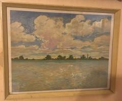 Bölcskey Ferenc: Balatonberény. Gouache, papír, jelzett, üvegezett keretben, 42×55 cm + keret