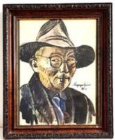 Nyergesi János - Önarckép 1963 akvarell 43x30cm