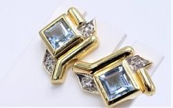 Gyémánt-akvamarin  .585/14kr.Arany
