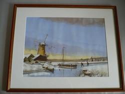 Yvette Mannee holland festő Hajók és kikötők sorozat/10.