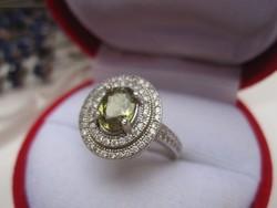 Hatalmas természetes és RITKA demantoid gránát kő 925 ezüst gyűrű