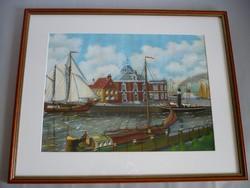 Yvette Mannee holland festő Hajók és kikötők sorozat/5.