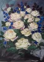Rózsák kék szarkalábbal című  festmény , csendélet