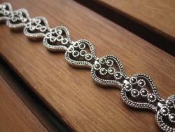 Szívmintás antik ezüst karlánc, karkötő markazit kövekkel 925