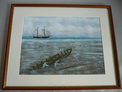 Yvette Mannee holland festő Hajók és kikötők sorozat/6.