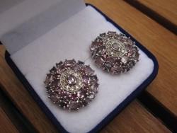 Dús, mesés ezüst fülbevaló pár rengeteg ametiszt kővel - 65,5 karátos