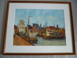 Yvette Mannee holland festő Hajók és kikötők sorozat/2.
