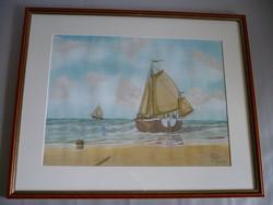 Yvette Mannee holland festő Hajók és kikötők sorozat/1.