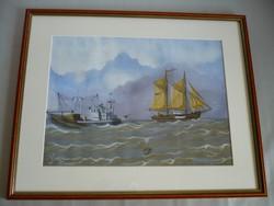 Yvette Mannee holland festő Hajók és kikötők sorozat/9.