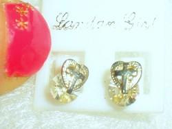 Szív-Kereszt Hegyikristály 925 ezüst fülbevaló