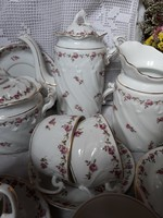 Bájos,kézzel festett,szecessziós rózsagirlandos kávés-teás készlet