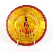 0R578 Afrikai mintájú üveg dísztányér