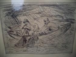 Borsos Miklós Halászok viharban Rézkarc 1961